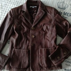 Leather blazer from CAbi. Brown color,  size 0.